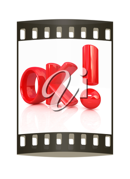3d redl text OK on a white background. The film strip