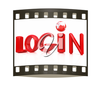 3d red text login on a white background. The film strip