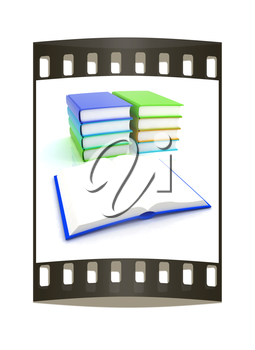 colorful real books on white background. The film strip