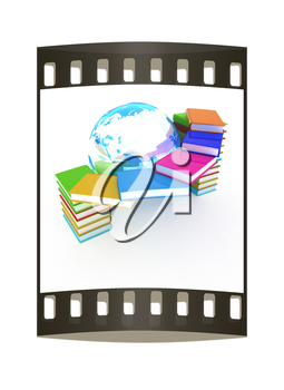 Colorful books and earth on a white background. The film strip
