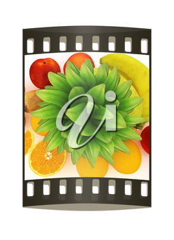 colorful citrus background. The film strip