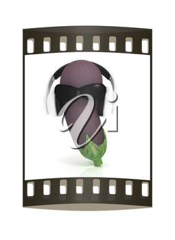 eggplant  with sun glass and headphones front face on a white background. The film strip