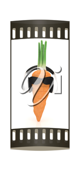 carrot with sun glass and headphones front face on a white background. The film strip