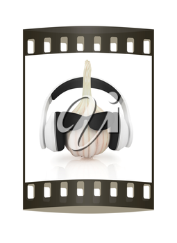 Head of garlic with sun glass and headphones front face on a white background. The film strip