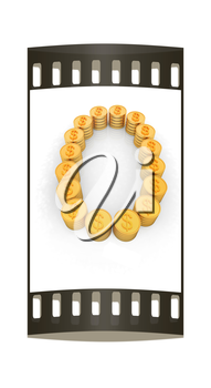 the number zero of gold coins with dollar sign on a white background. The film strip