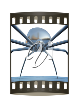 chrome spider.Close-up on a white background. The film strip