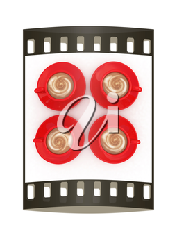 red cups of coffee with milk. The film strip