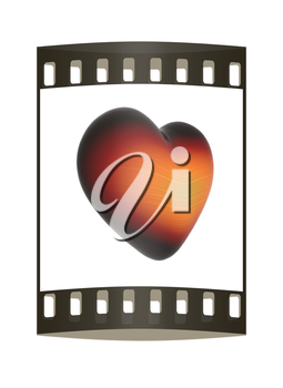 3d beautiful glossy heart on a white background. The film strip