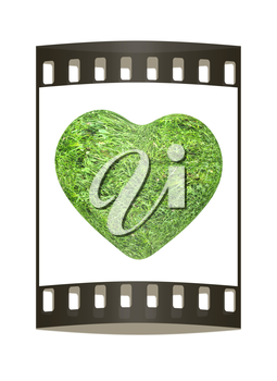 3d grass heart isolated on white background. The film strip