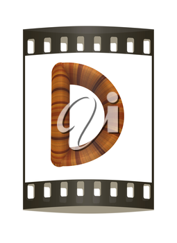 Wooden Alphabet. Letter D on a white background. The film strip