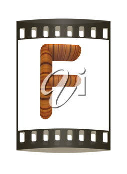 Wooden Alphabet. Letter F on a white background. The film strip