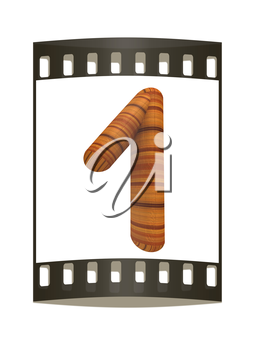 Wooden number 1- one on a white background. The film strip