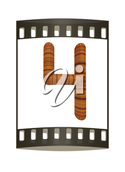 Wooden number 4- four on a white background. The film strip