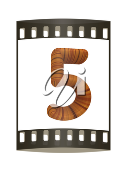Wooden number 5- five on a white background. The film strip