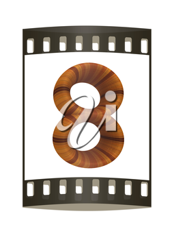 Wooden number 8- eight on a white background. The film strip