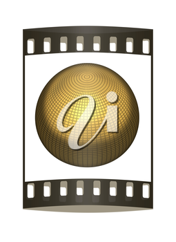 Gold Ball 3d render on a white background. The film strip