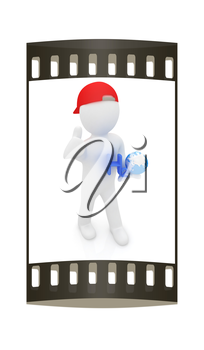 3d small man with H2O - formula of water on white background. 3d image. The film strip