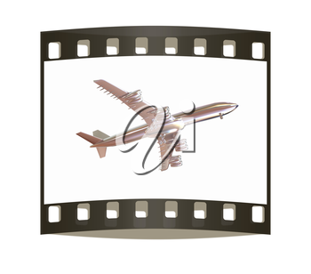Airplane on a white background. The film strip
