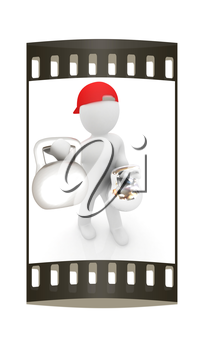 3d man with kettlebell. Bodybuilding. Lifting kettlebell on a white background. The film strip
