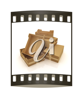 Cardboard boxes on a white background. The film strip