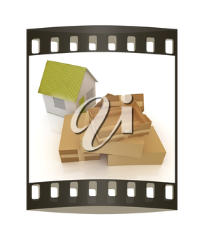 Cardboard boxes and house on a white background. The film strip