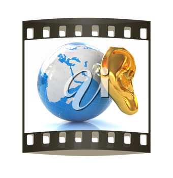 Ear gold 3d on earth render isolated on white background. Global. The film strip