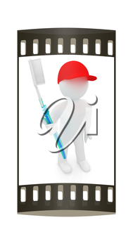 3d man with toothbrush on a white background. The film strip