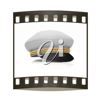 Marine cap on a white background. The film strip