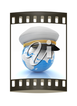 Marine cap on Earth on a white background. The film strip