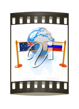 Three-dimensional image of the turnstile and flags of Russia and Australia on a white background. The film strip