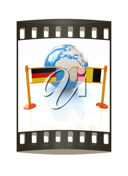 Three-dimensional image of the turnstile and flags of Germany and Belgium on a white background. The film strip