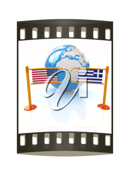 Three-dimensional image of the turnstile and flags of USA and Greece on a white background. The film strip