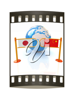 Three-dimensional image of the turnstile and flags of China and Japan on a white background. The film strip