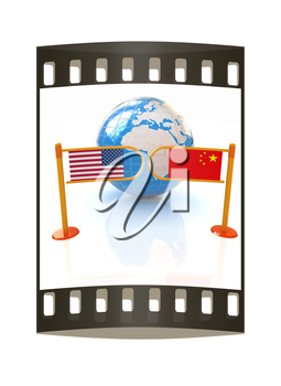 Three-dimensional image of the turnstile and flags of USA and China on a white background. The film strip