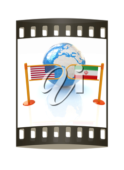 Three-dimensional image of the turnstile and flags of USA and Iran on a white background. The film strip