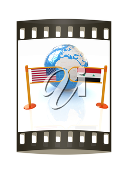 Three-dimensional image of the turnstile and flags of USA and Syria on a white background. The film strip