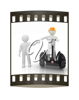 3d people in riding on a personal and ecological transport in helmet and holding hands. Concept of partnership. The film strip