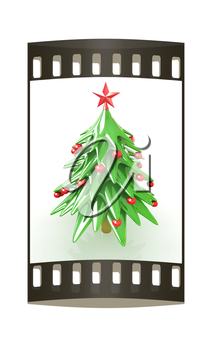 Christmas tree on a white background. The film strip