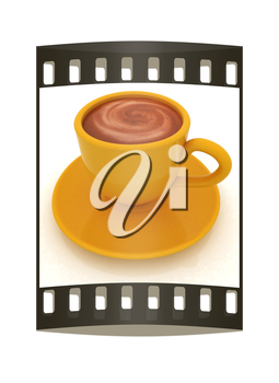 Coffee cup on saucer on a white background. The film strip