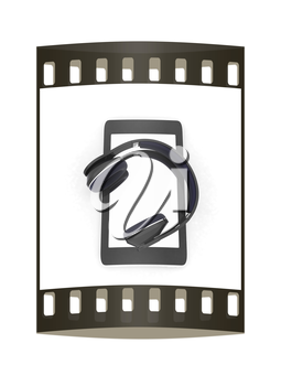 a creative cellphone with headphones isolated on white, portable audio concept. The film strip