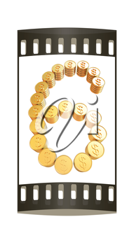 Number six of gold coins with dollar sign isolated on white background. The film strip