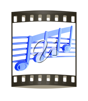 3D music note on stave on a white. The film strip