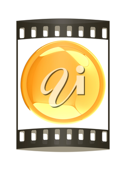 Glossy yellow button. The film strip