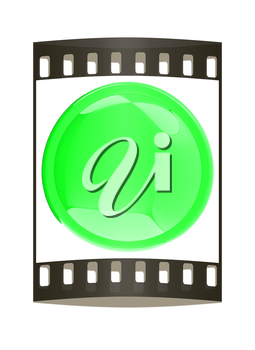 Glossy green button. The film strip
