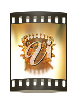 Gold crown isolated on gold background. The film strip