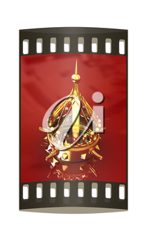 Gold crown isolated on red background. The film strip