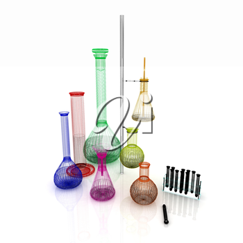 Chemistry set, with test tubes, and beakers filled with colored liquids