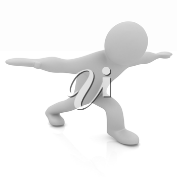 3d man isolated on white. Series: morning exercises - flexibility exercises and stretching
