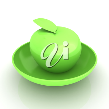 apple in a plate on white