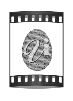 Easter egg on a white background. The film strip with place for your text